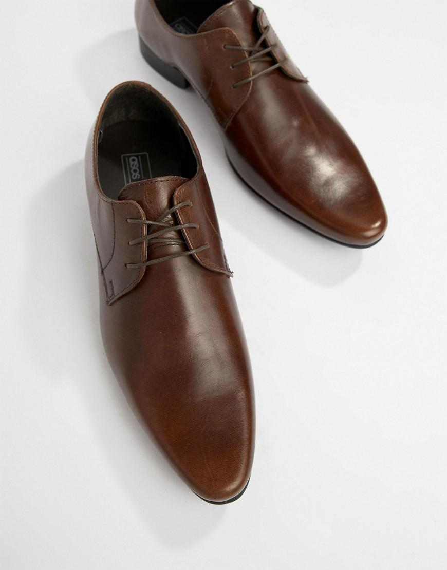 cute hot sales exquisite style ASOS Derby Shoes In Brown Leather for Men - Lyst