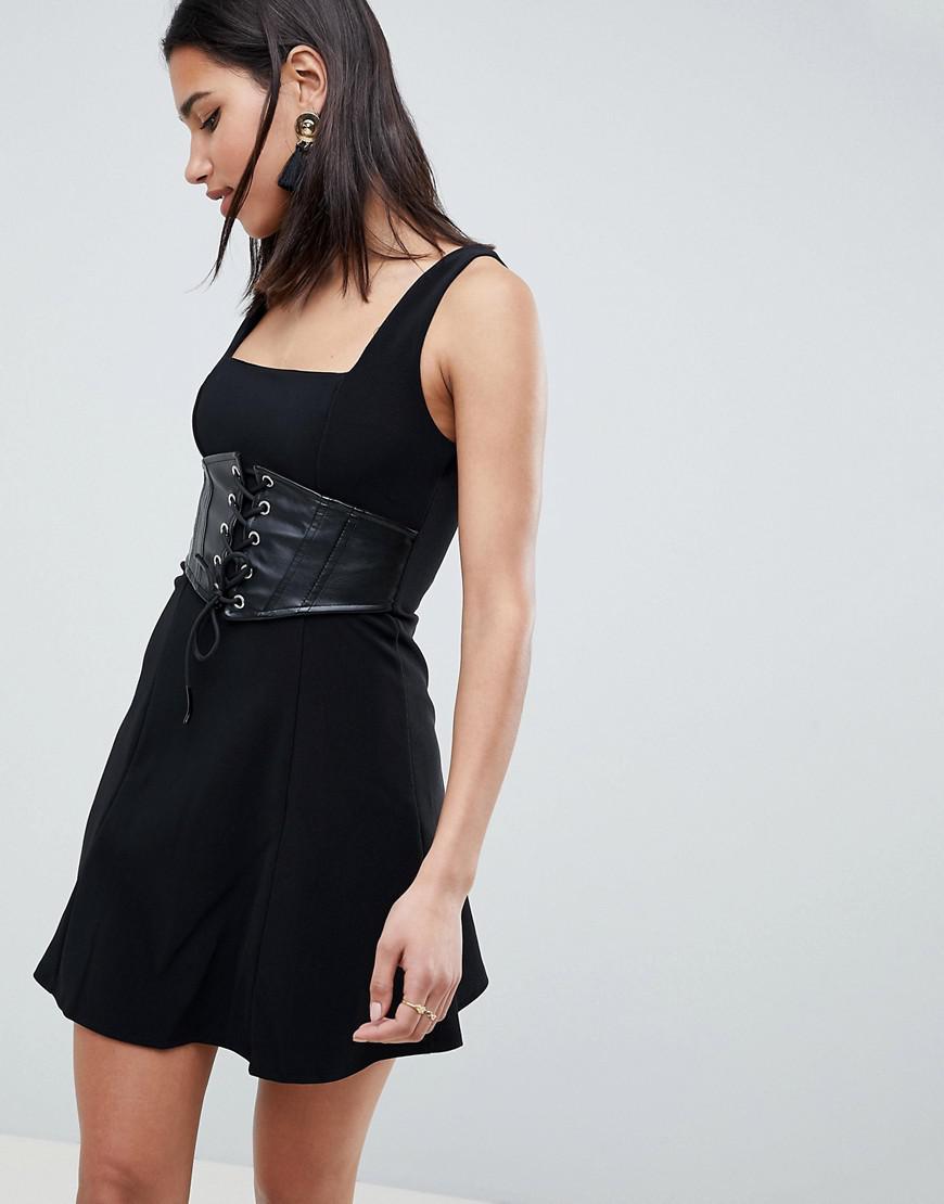 79c77f79d1 ASOS. Women s Black Asos Premium Rib Mini Skater Dress With Faux Leather  Corset