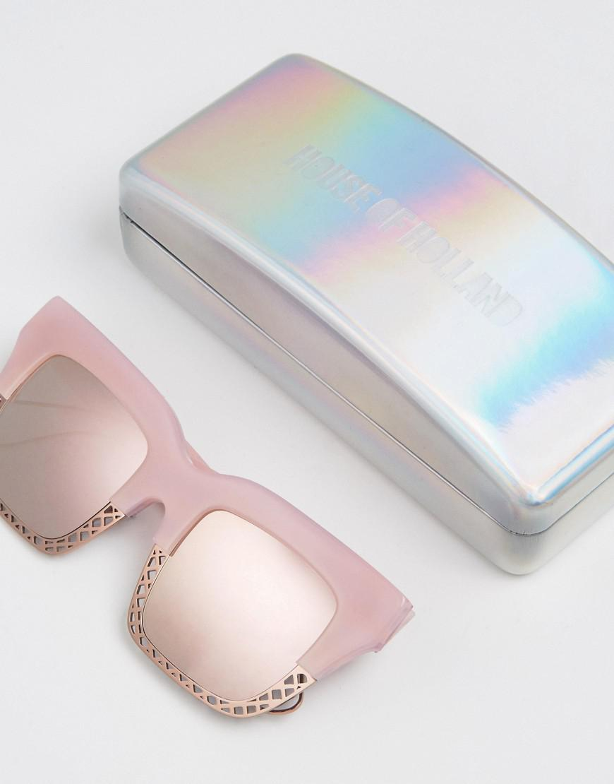House of Holland Half Arsed Sqaure Sunglasses With Caged Half Frame in Pink