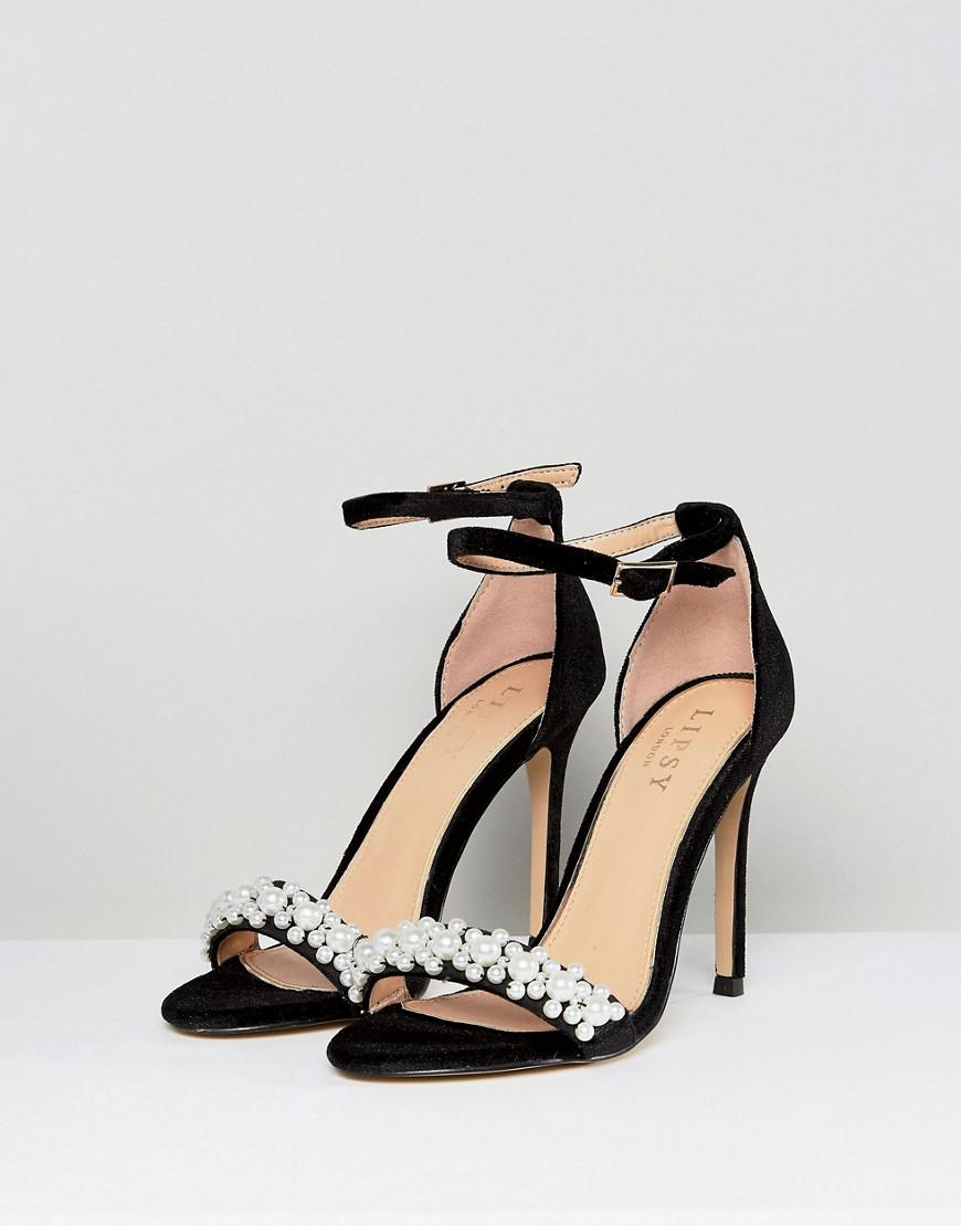 1f7d442906c8 Lipsy Two Part Sandal With Pearl Trim in Black - Lyst