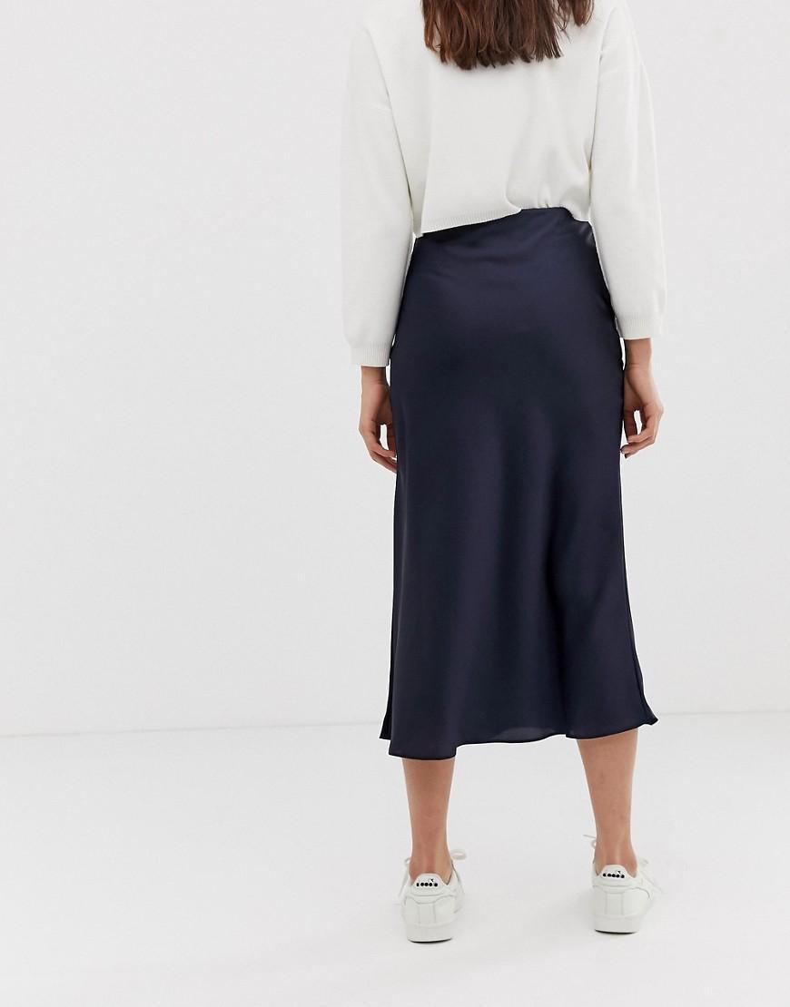 d3548cf75b80b ASOS Asos Design Tall Bias Cut Satin Slip Midi Skirt in Blue - Lyst