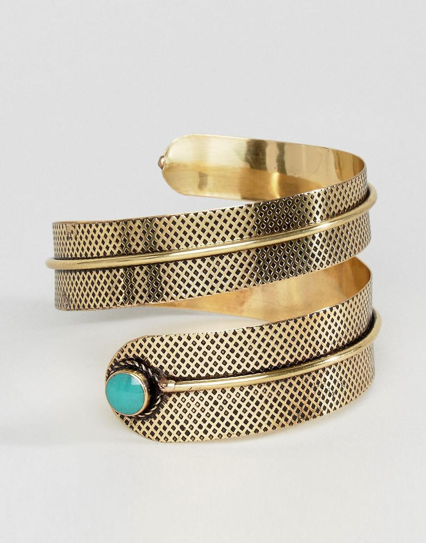 Reclaimed (vintage) Inspired Twisted Turquoise Stone Arm Cuff in Gold (Metallic)