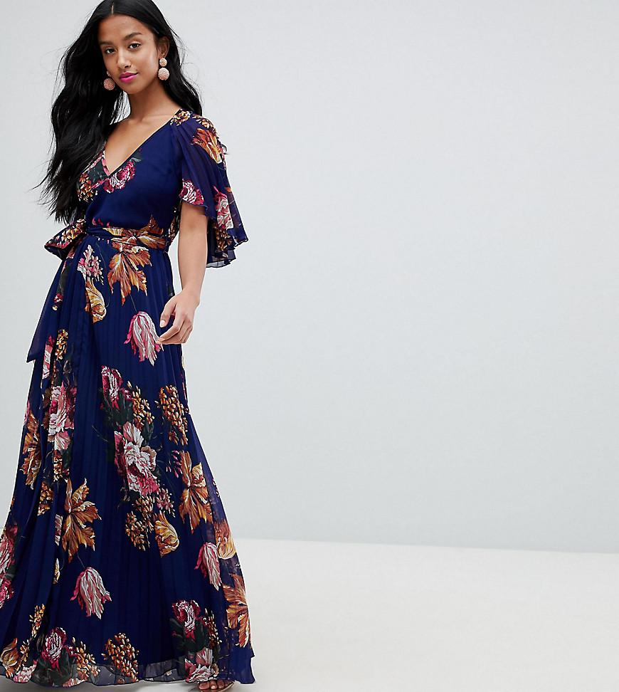 4a91706515e ASOS Asos Design Petite Pleated Maxi With Flutter Sleeve In Floral ...