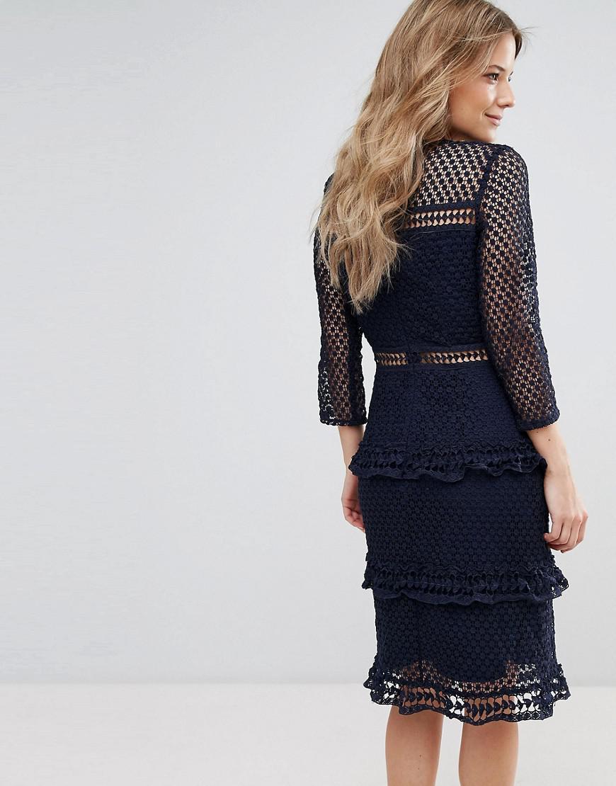 4cd24e0790 Liquorish - Blue Layered Lace 3 4 Sleeve Midi Dress - Lyst. View fullscreen