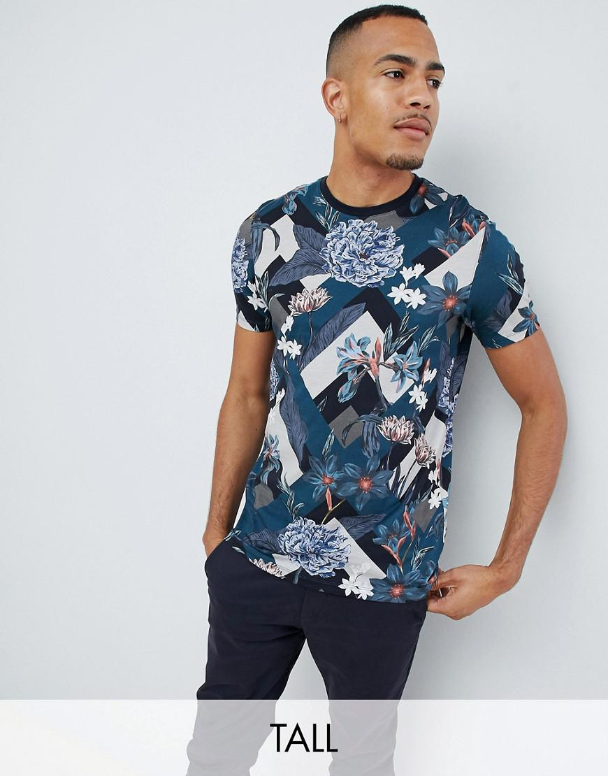 f4eb82c85277 Ted Baker Tall T-shirt With All Over Floral Print in Blue for Men - Lyst