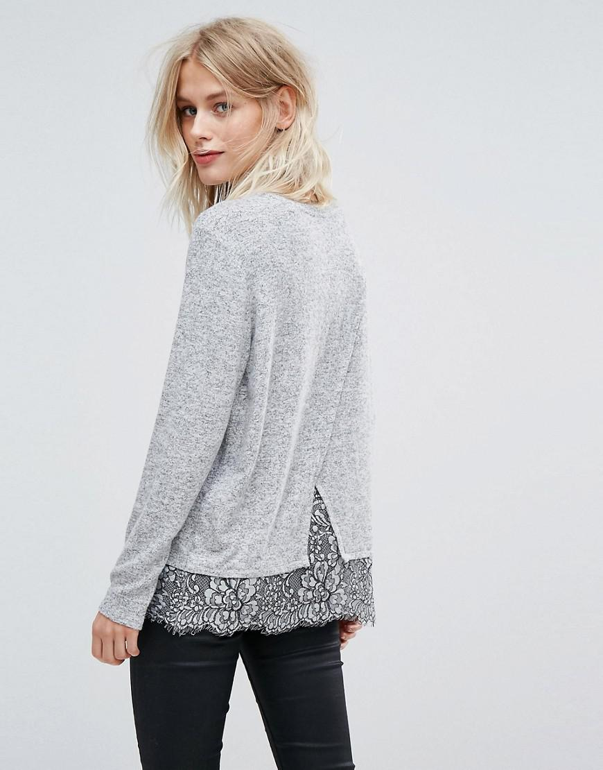 Lyst - Esprit Lace Hem Detail Long Sleeve Top in Gray 810ba7e2a