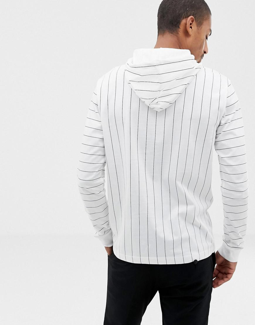 d911b67106ff Lyst - Fila Black Line Mario Striped Long Sleeve T-shirt With Hood In White  in White for Men