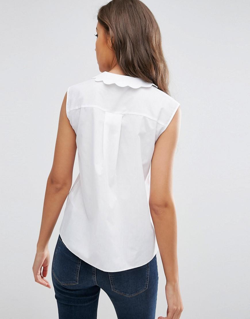 Asos Tall Sleeveless Scallop Collar White Shirt In White