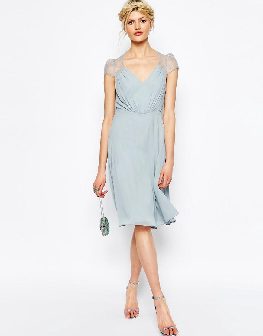 Lyst - Asos Kate Lace Midi Dress in Gray