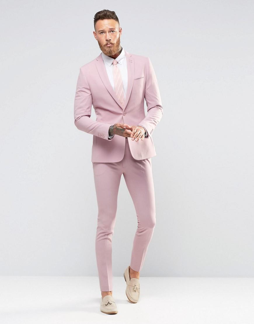Asos Super Skinny Fit Suit Jacket In Pink in Pink for Men | Lyst