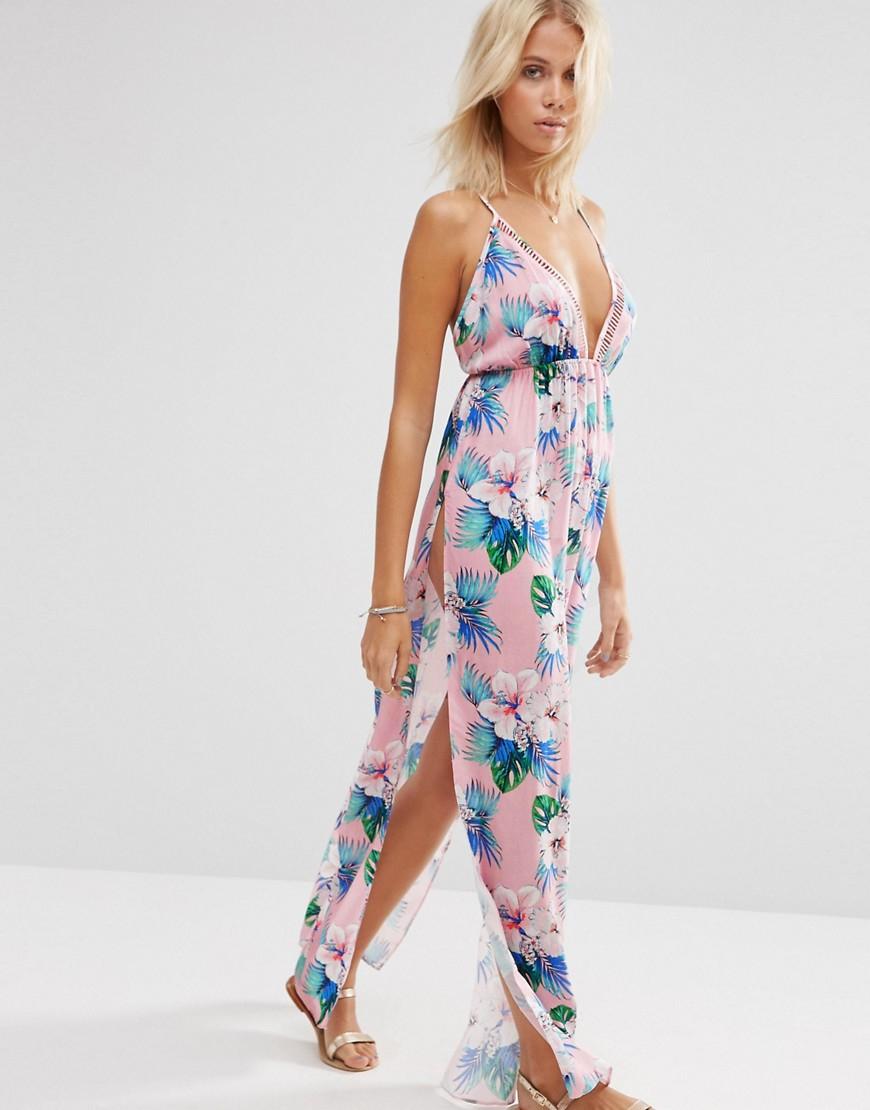 As0s Pastel Hawaian Tropical Lattice V Neck Maxi Beach Dress