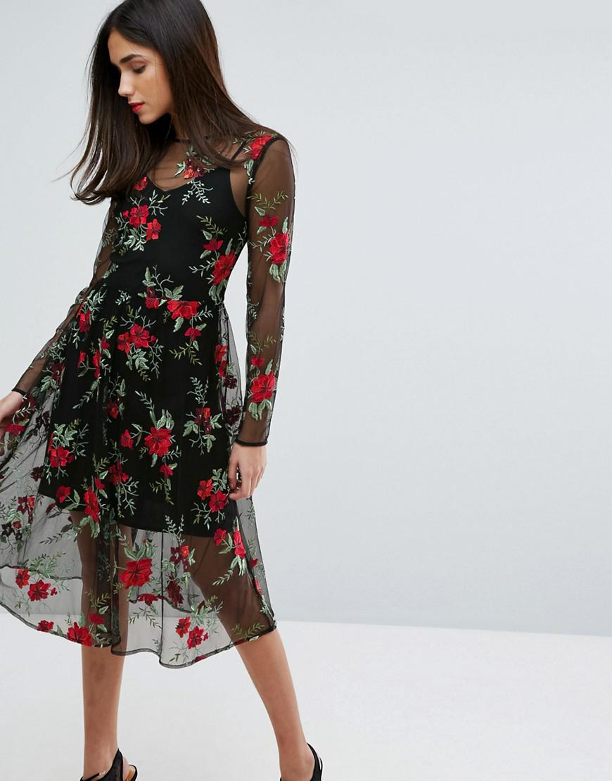 Lyst Warehouse Premium Floral Embroidered Lace Dress In Red