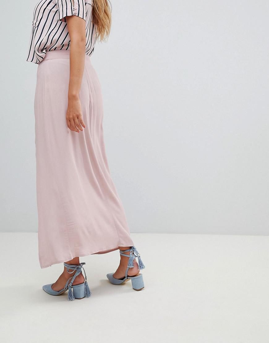76d7e869f Lyst - New Look Split Front Maxi Skirt in Pink
