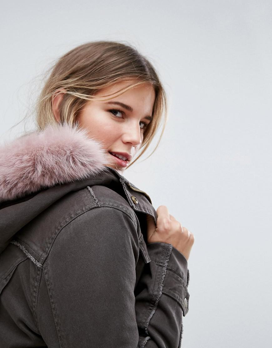 10a70c31781 Ugg Green Field Jacket With Toscana Shearling Fur Hood