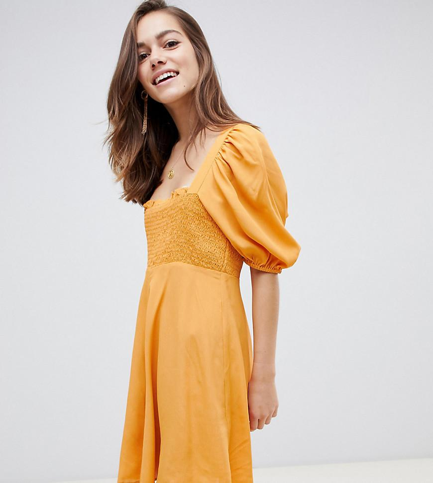 61d845230589 ASOS. Women's Yellow Asos Design Petite Shirred Bustier Mini Skater Dress  With Puff Sleeve