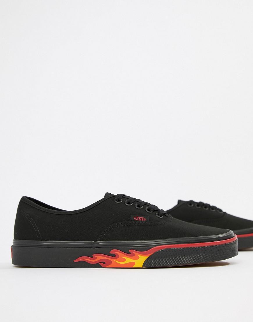 0e4708796c51 Vans Classics Authentic Flame Pack Sneakers In Black Va38emq8q in ...