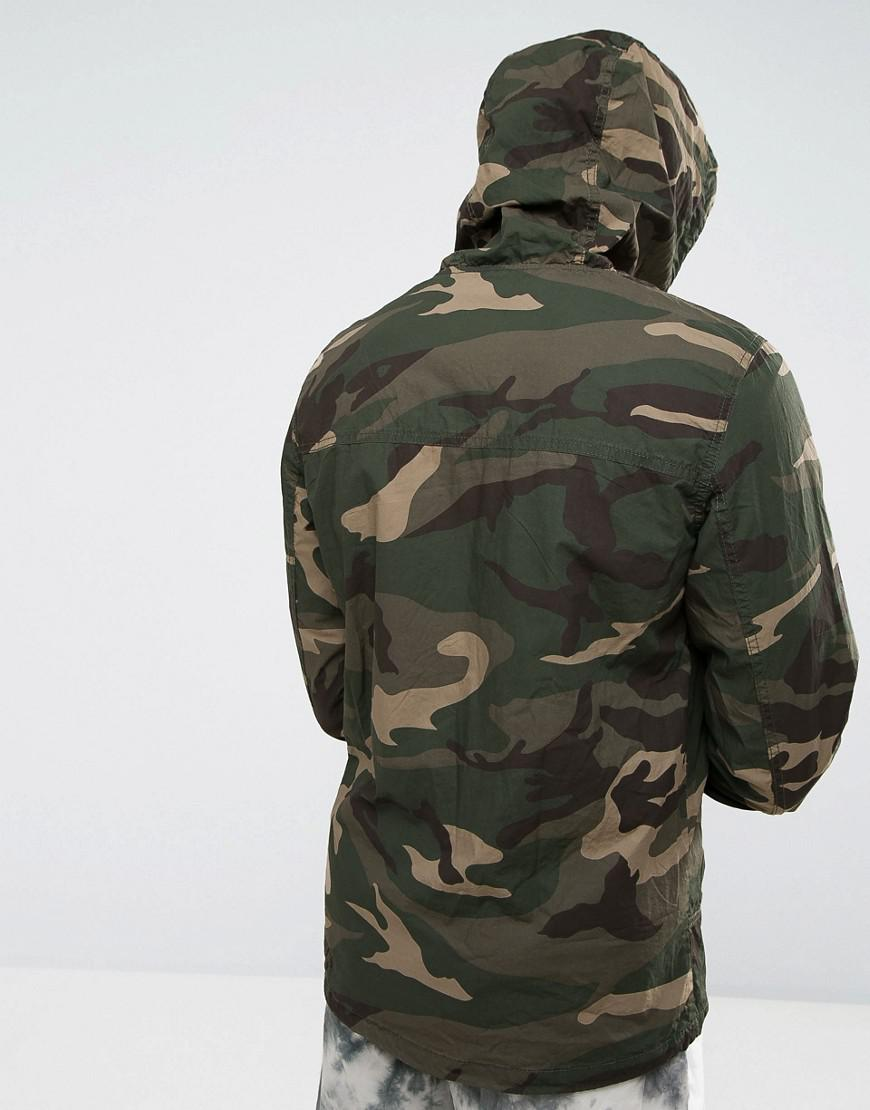 Pull&Bear Cotton Zip Through Hooded Jacket In Camo in Green for Men