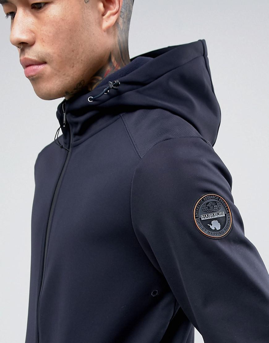 Napapijri Synthetic Addison Softshell Jacket Hooded Zipthru In Navy in Blue for Men