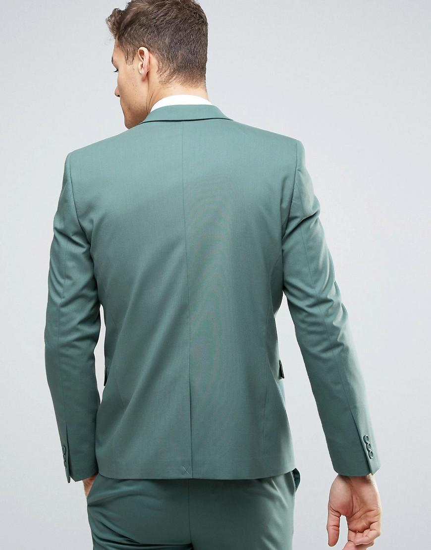 Lyst - Asos Wedding Skinny Suit Jacket In Pine Green in Green for Men