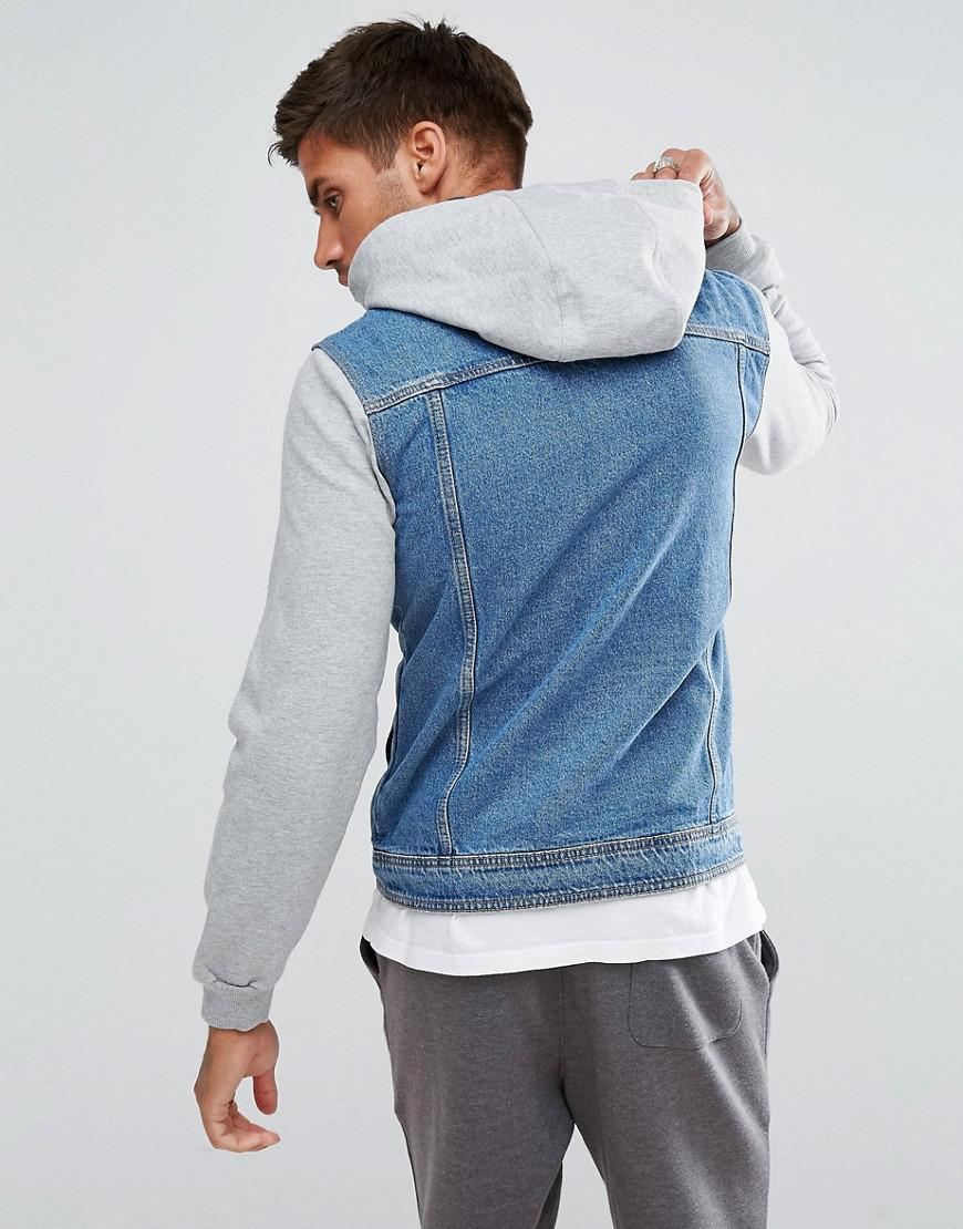 Lyst - Pull&Bear Denim Jacket With Jersey Sleeves In Mid ...