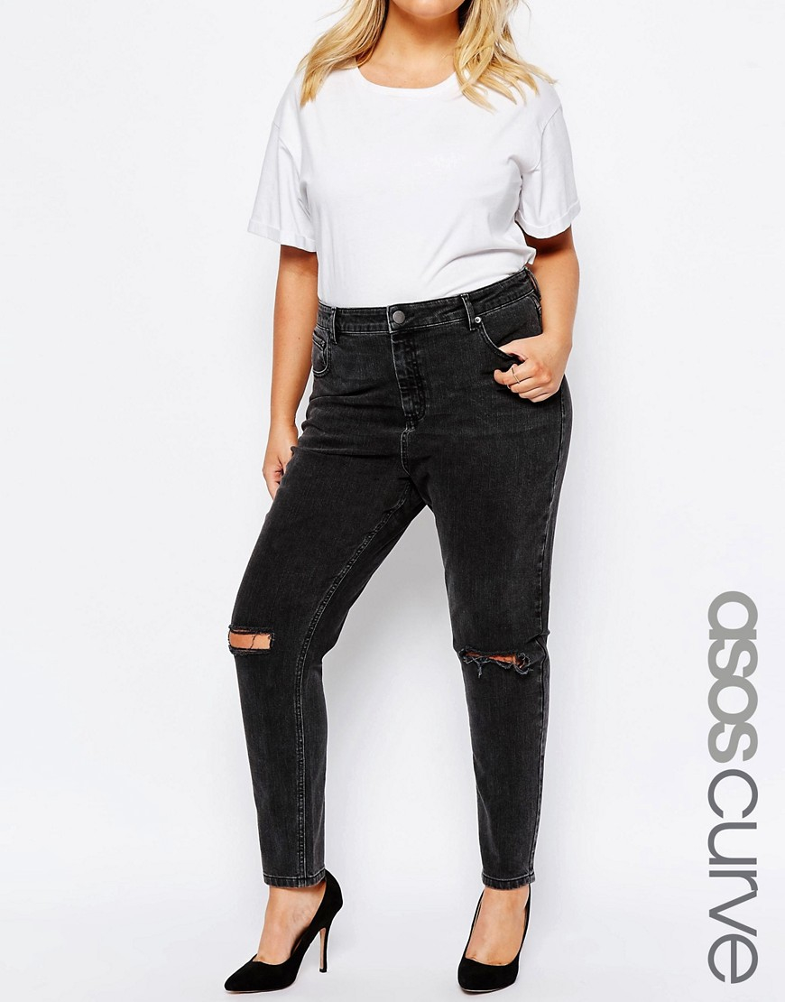 asos farleigh high waist mom jeans in washed black with. Black Bedroom Furniture Sets. Home Design Ideas