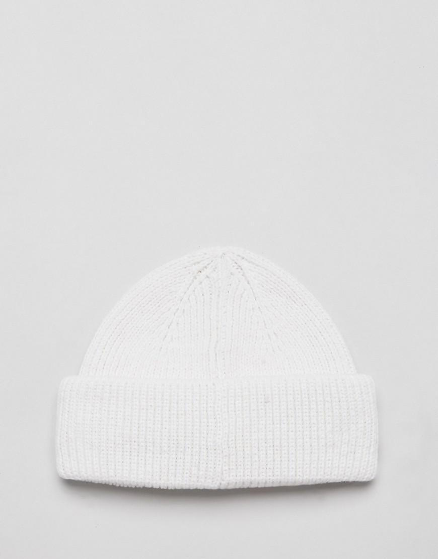 Lyst - ASOS Mini Fisherman Beanie In White Rib Recycled Polyester in White  for Men 0fffa58f0ee2