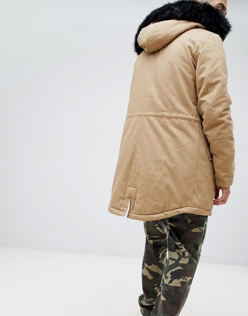 12f4d828d43f7 Lyst - Sixth June Parka Coat In Stone With Black Faux Fur Hood in Natural  for Men
