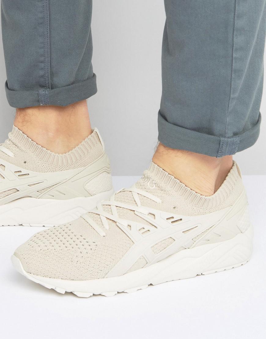 gel-kayano knit sneakers in beige