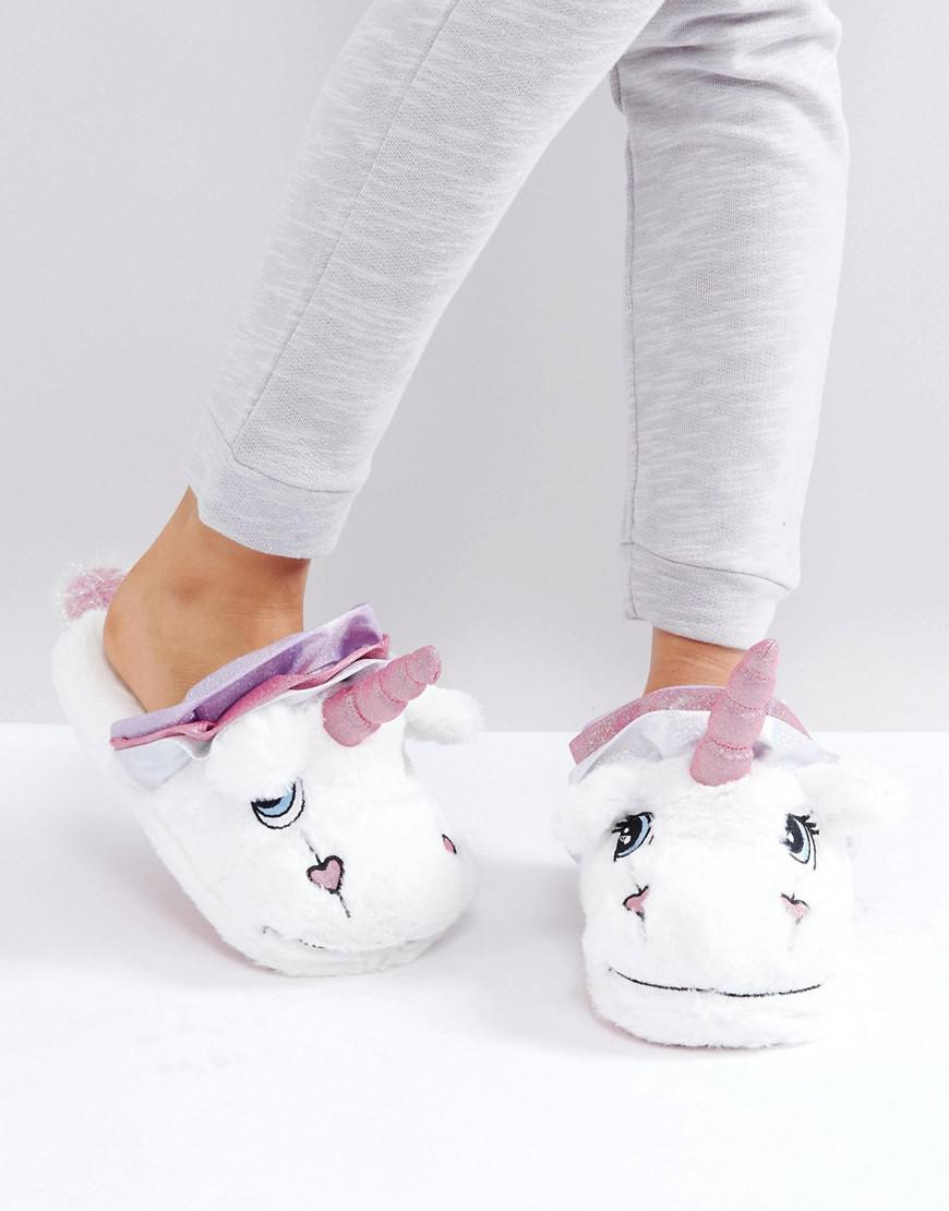 lyst asos nevada moon unicorn slippers in white. Black Bedroom Furniture Sets. Home Design Ideas