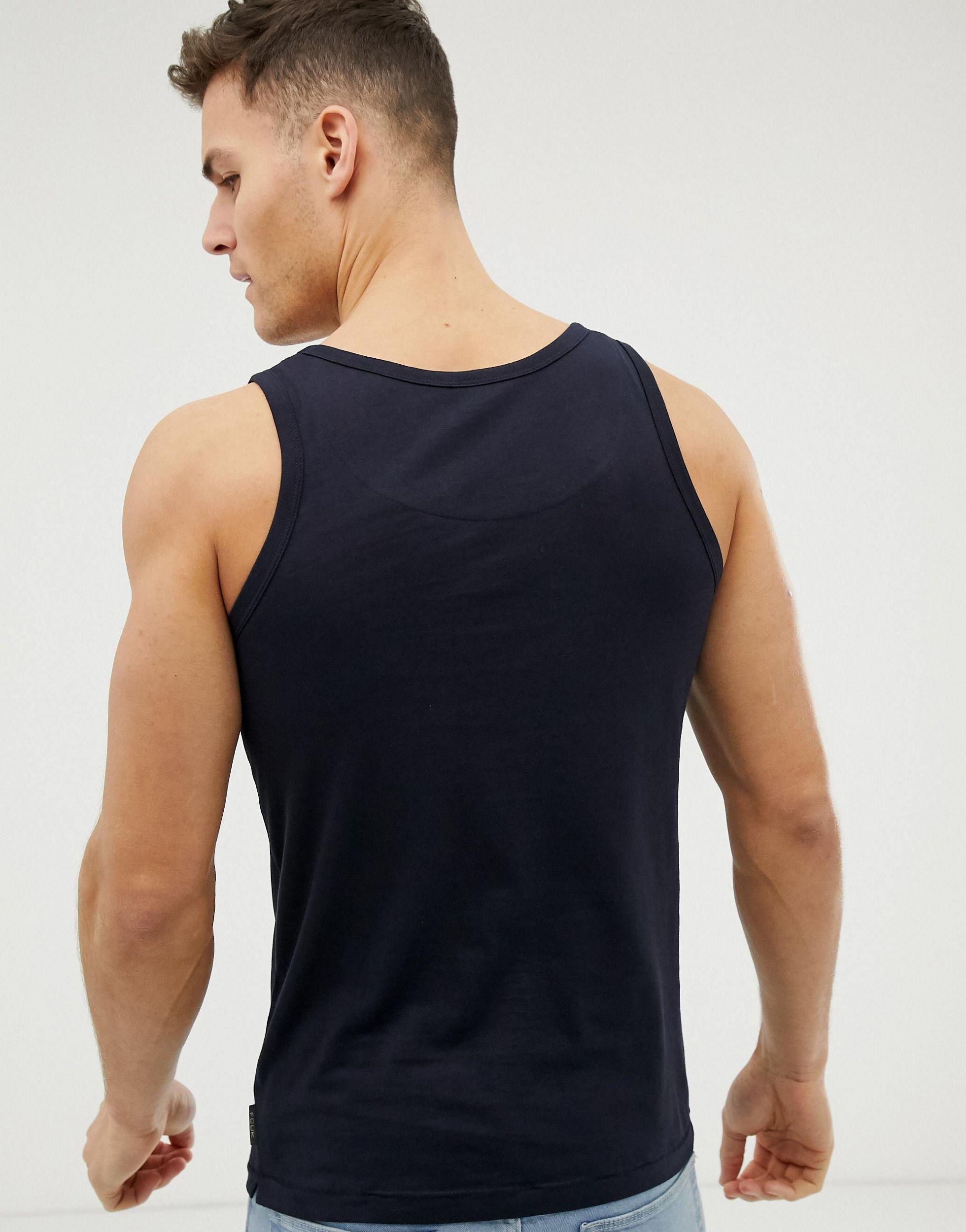 French Connection Katoen Muscle Fit Hemd Met Fcuk-logo in het Blauw voor heren