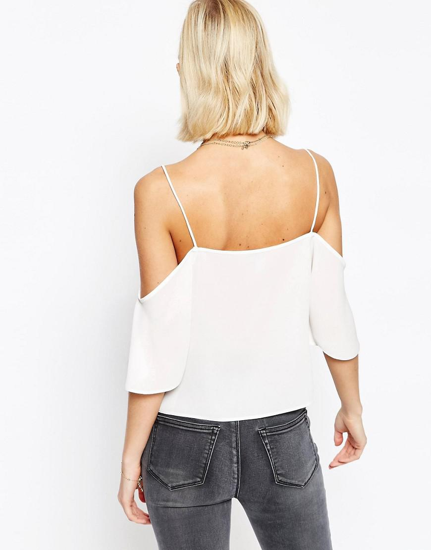 ASOS Synthetic V Neck Cropped Cold Shoulder Cami Top in White