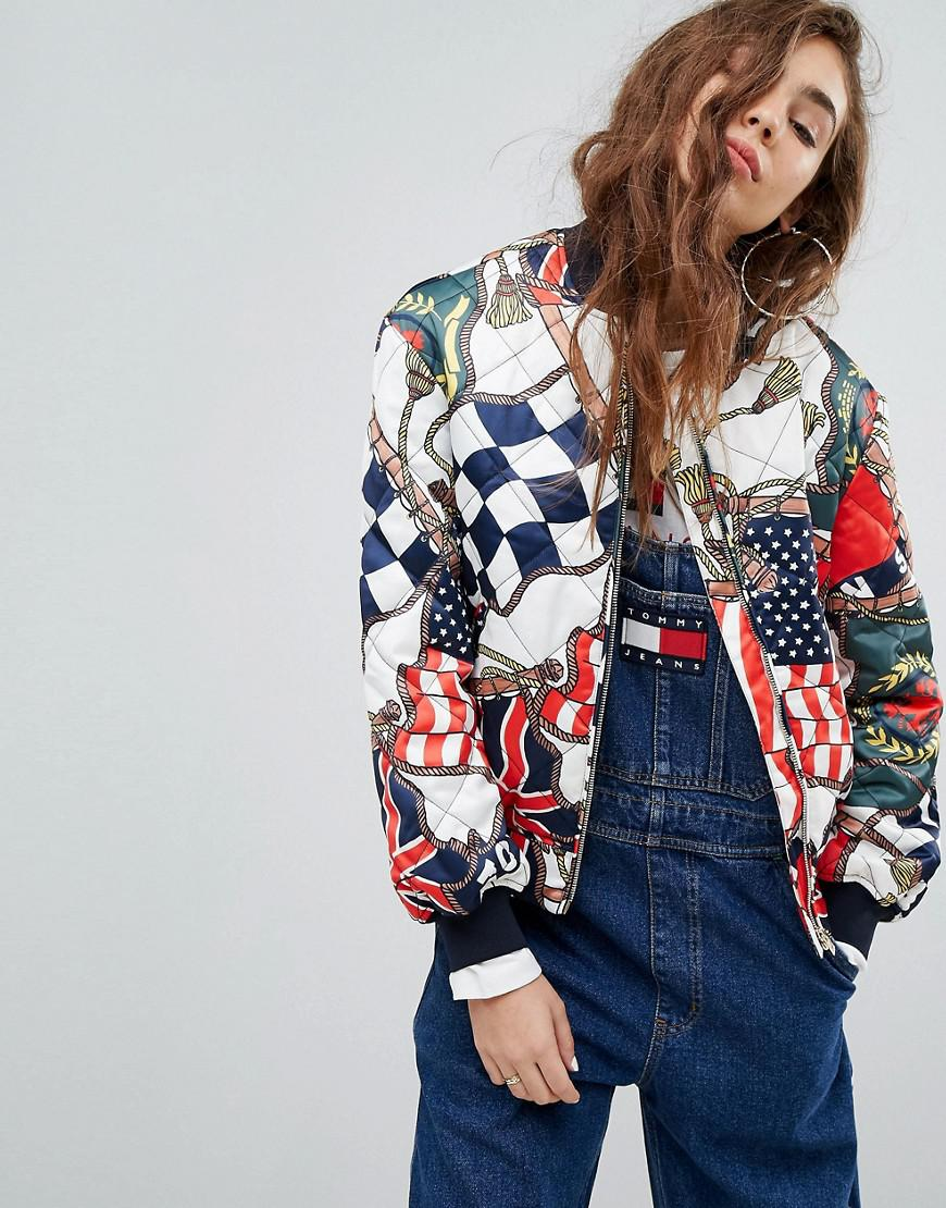 lyst tommy hilfiger tommy jeans 90s capsule bomber with. Black Bedroom Furniture Sets. Home Design Ideas