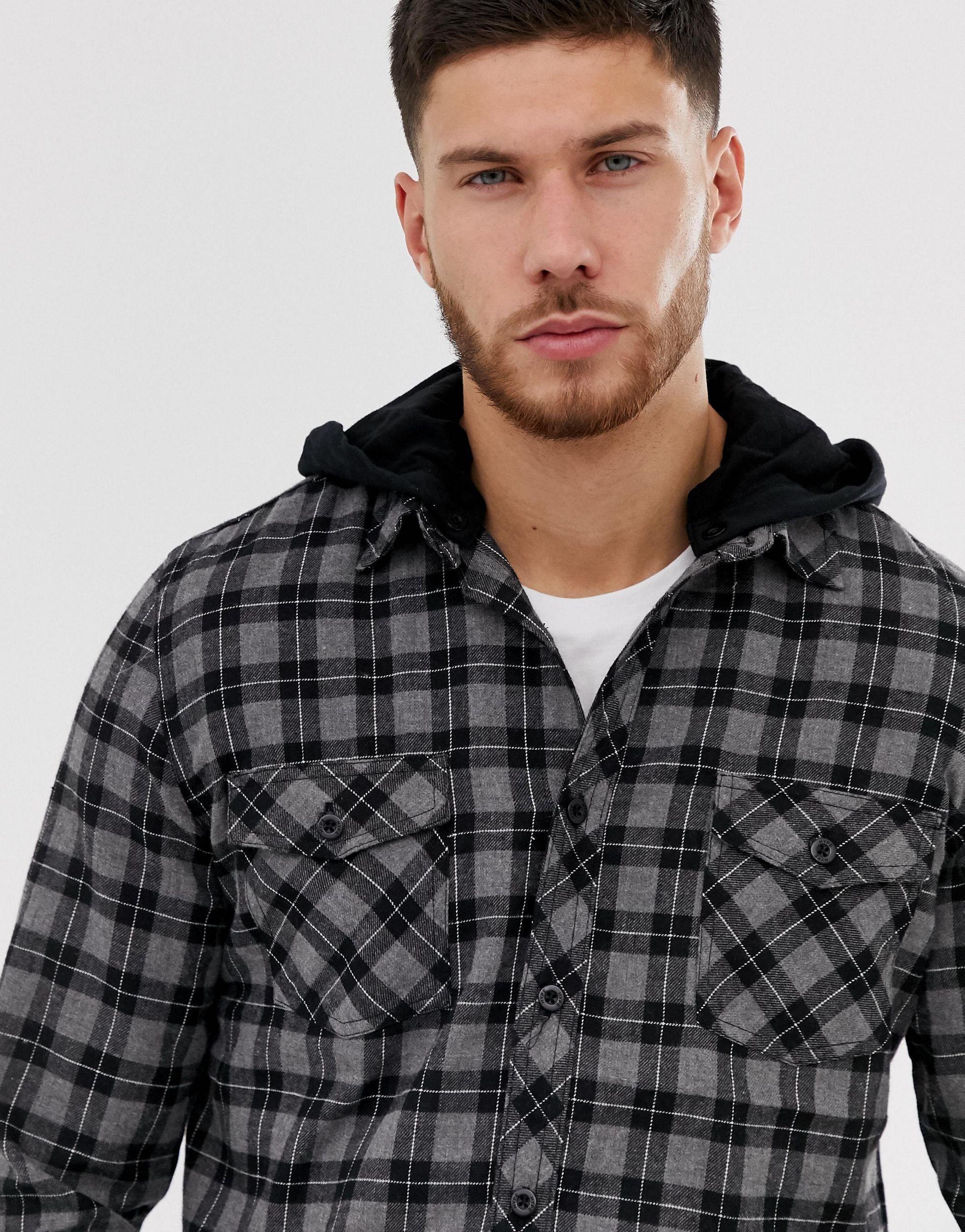 Hype Synthetisch Oversized Geruit Overhemd Met Capuchon in het Zwart voor heren