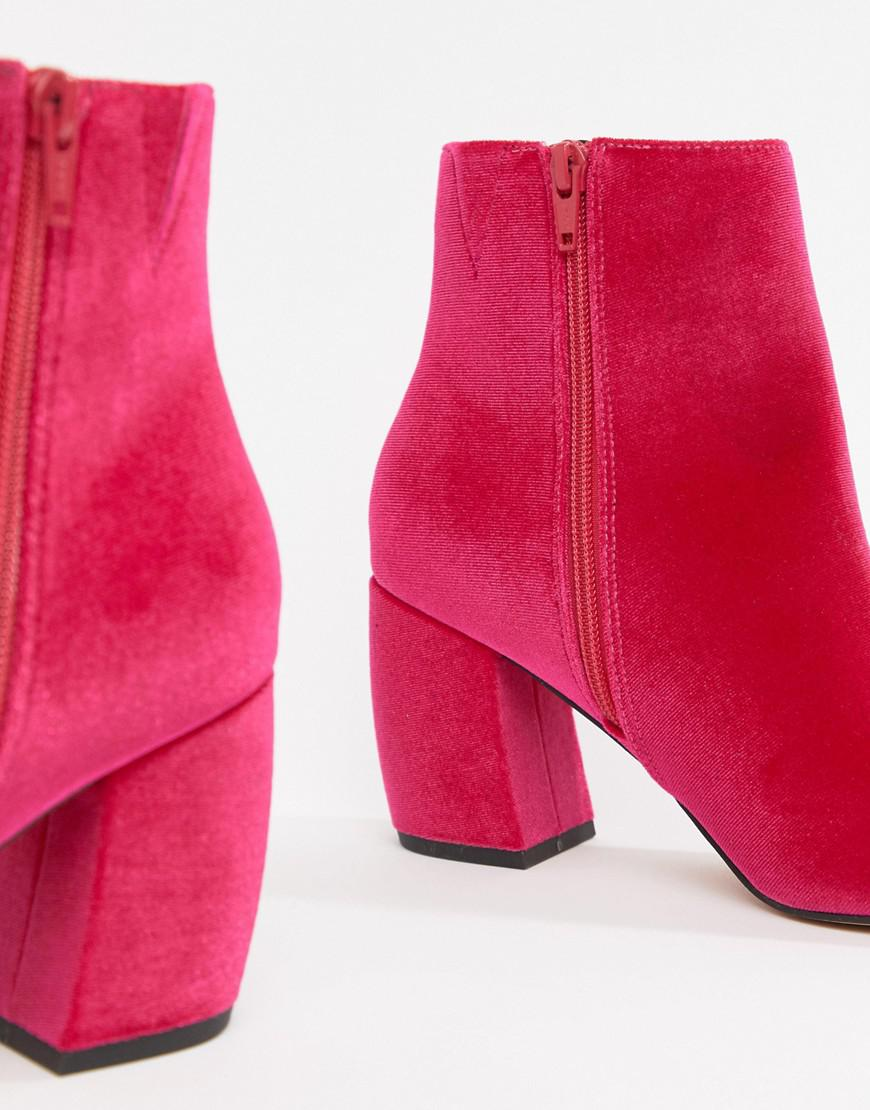 74a38e06c13 Lyst - ASOS Radius Velvet Ankle Boots in Pink
