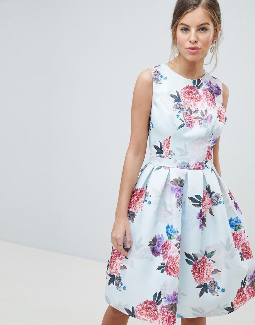 853d681169 Chi Chi London Bow Back Midi Prom Dress In Floral Print in Blue - Lyst