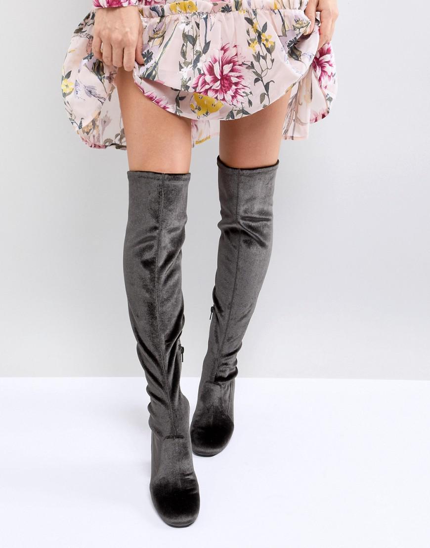 Miss Selfridge Velvet Over The Knee Boot