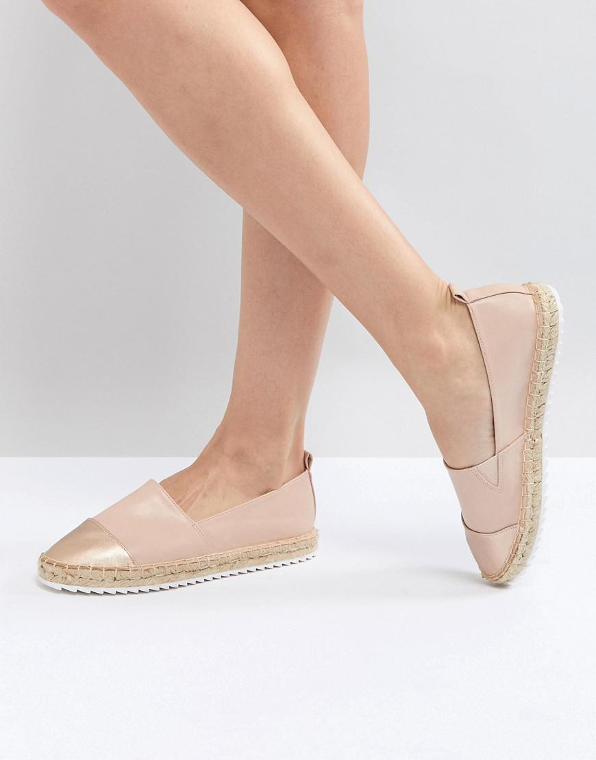 Slip on Shoe with Espadrille Sole and Metallic Toe Cap - Pink Dune London OBiWG4A