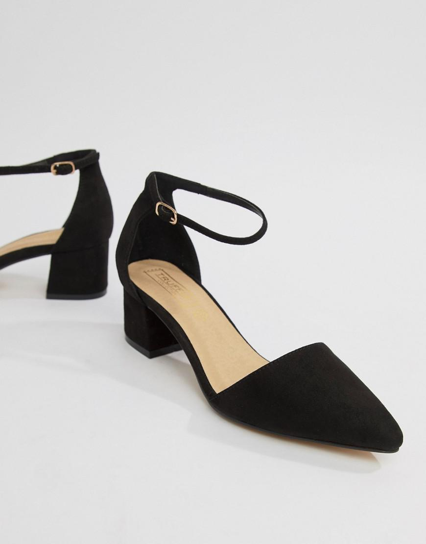 92c38151e31 Truffle Collection Pointed Mid Heels in Black - Lyst