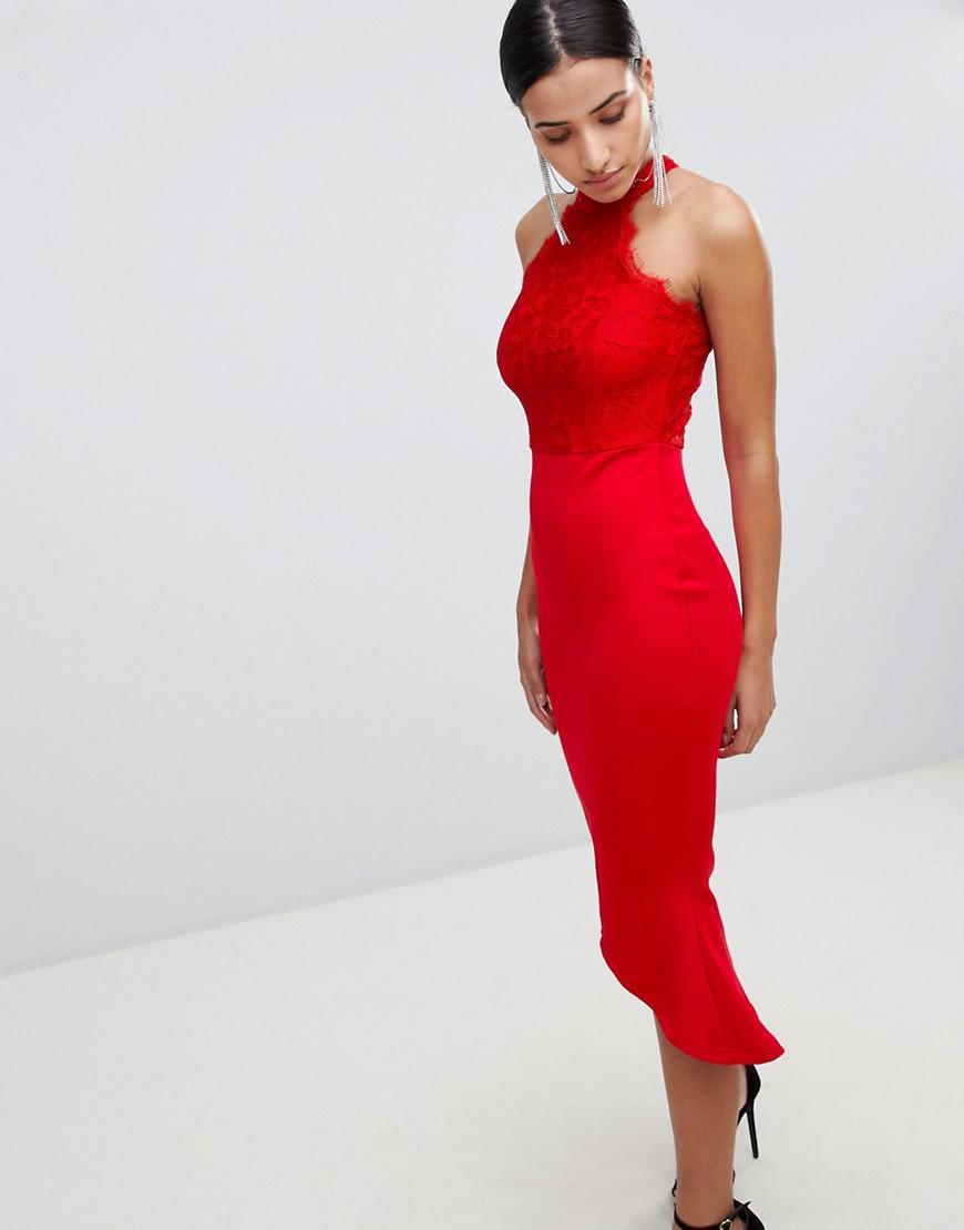 9f3f5c0b3e Lyst - AX Paris Lace Racer Neck Pephem Dress In Scuba in Red