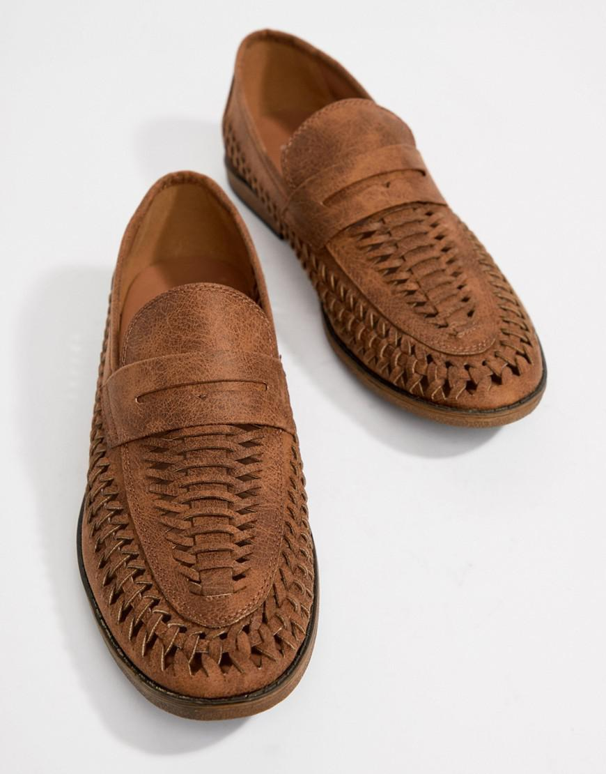 c25d2944595e7 New Look Faux Leather Woven Loafers In Tan in Brown for Men - Lyst