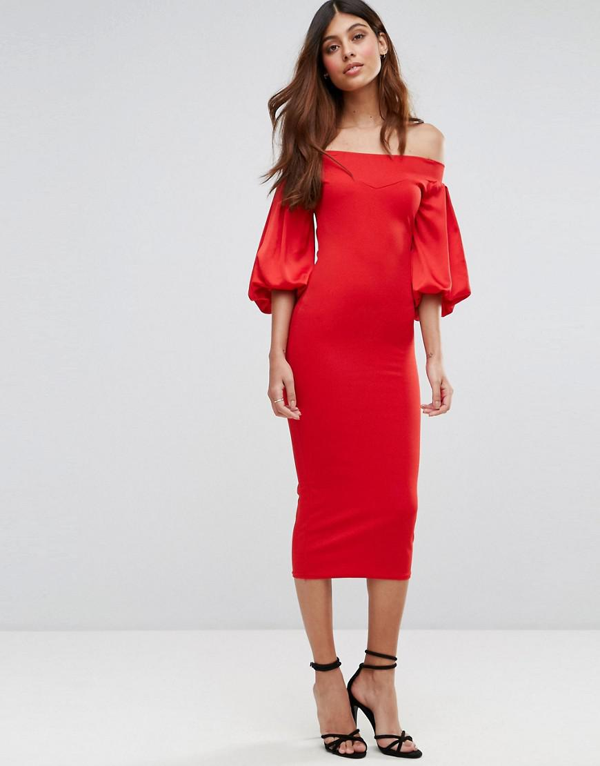 Lyst - TFNC London Off Shoulder Midi Dress With Blouson Sleeve in Red e4bf8c193