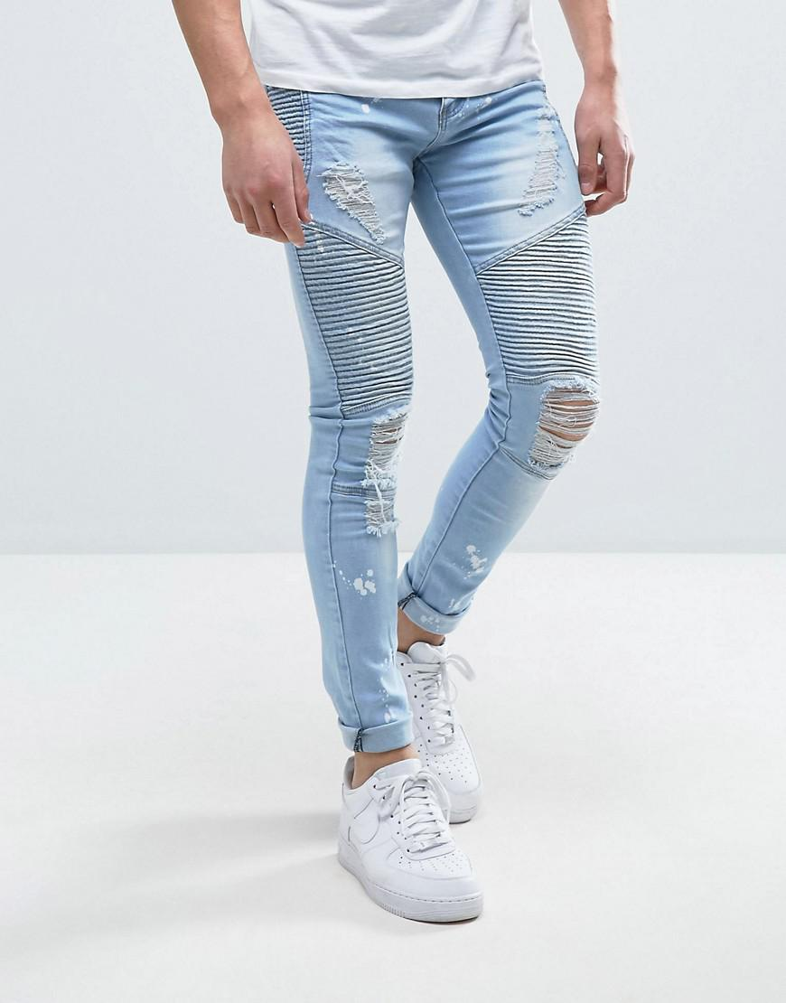 a5ddd3b9c6d Lyst - Liquor N Poker Skinny Jeans Heavily Distressed And Bleached ...