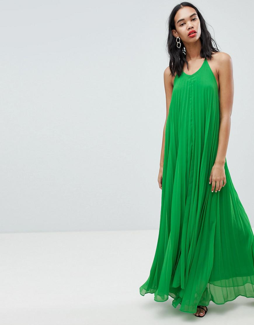 dc666244d6 Lyst - Missguided Pleated Low Back Maxi Dress in Green