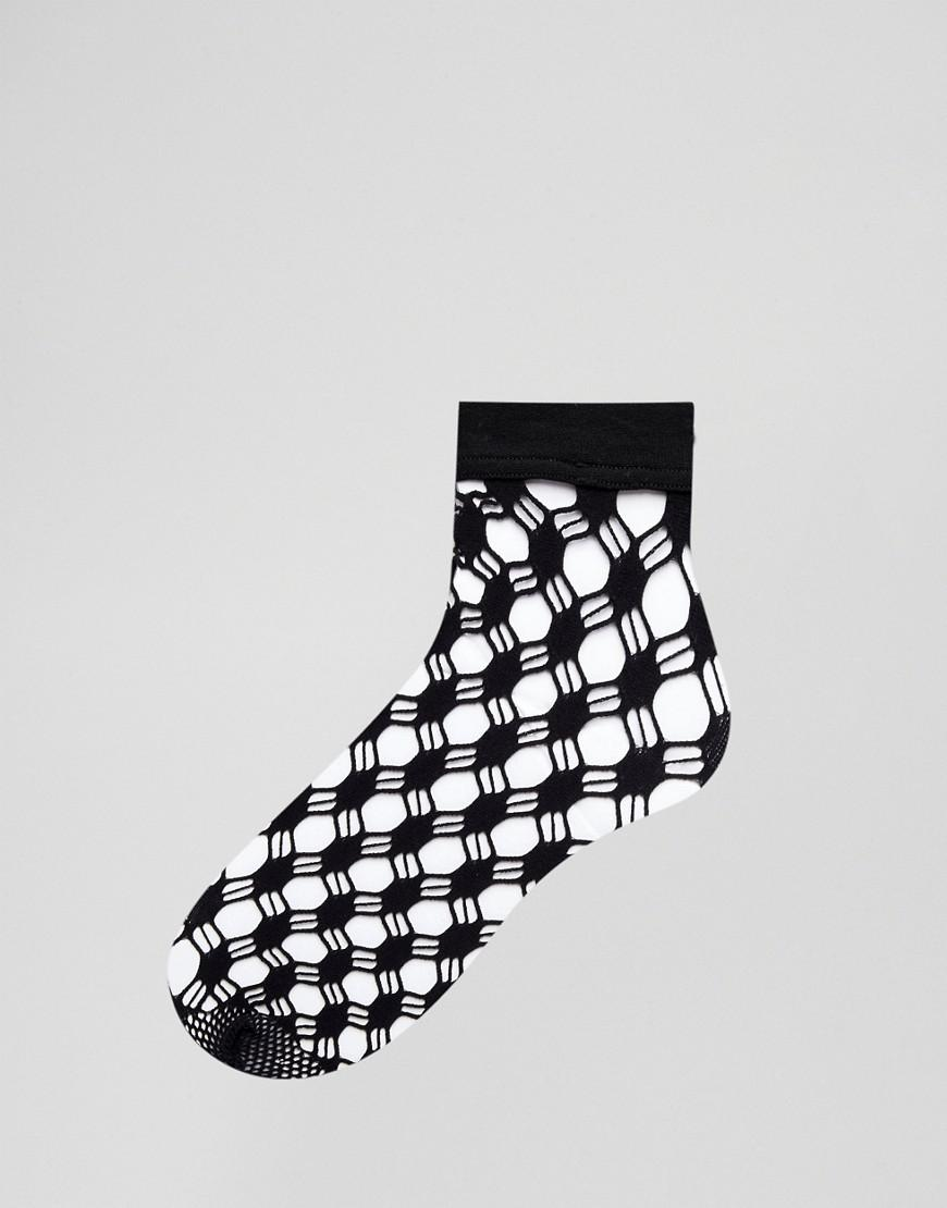 234d256ecf5 Wolford Athina Geo-net Ankle Socks in Black - Save 54% - Lyst