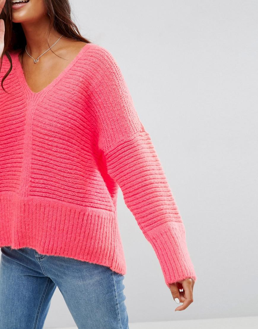 Asos Chunky Sweater In Fluffy Yarn With V Neck in Pink | Lyst