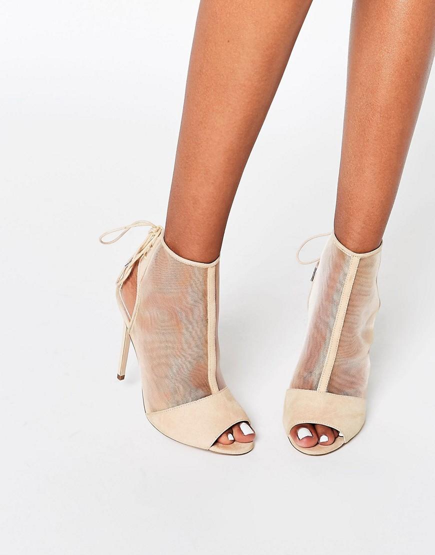asos elizabeth peep toe mesh shoe boots beige in