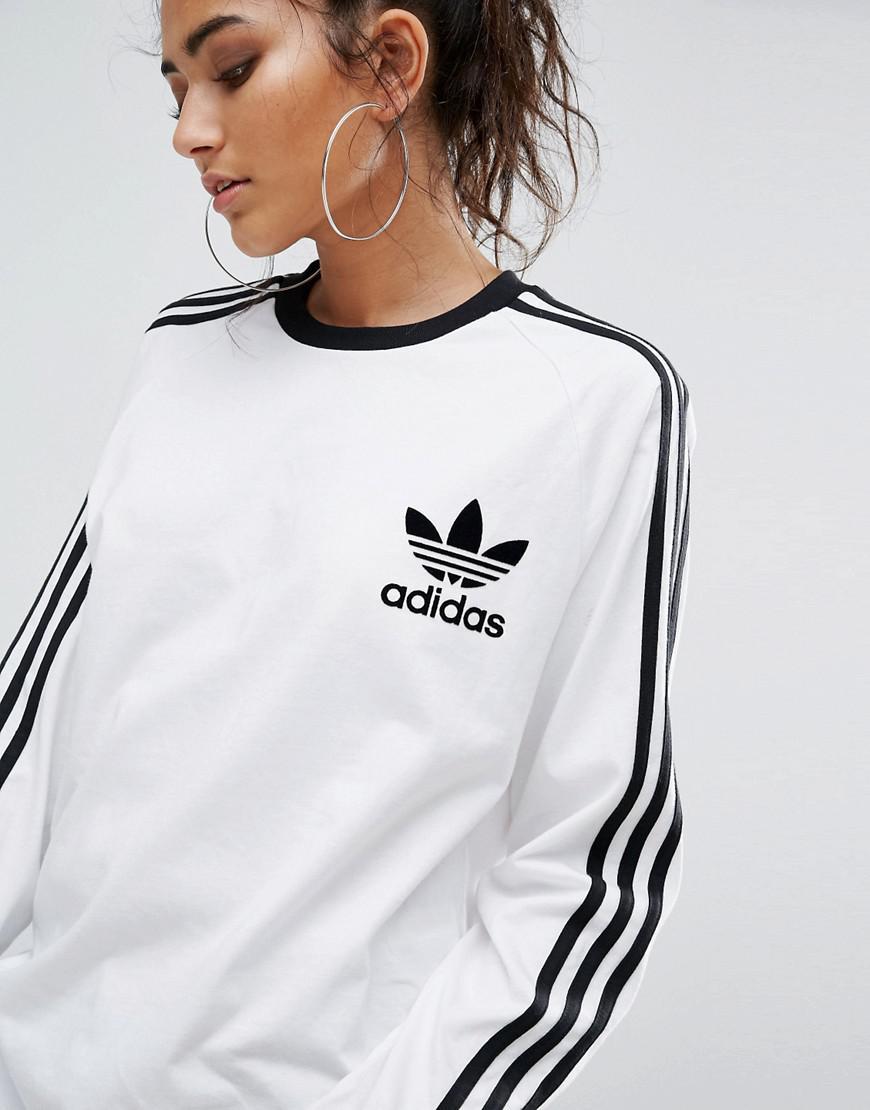 5b4b3ad0 adidas Originals Originals White Three Stripe Long Sleeve T-shirt in ...