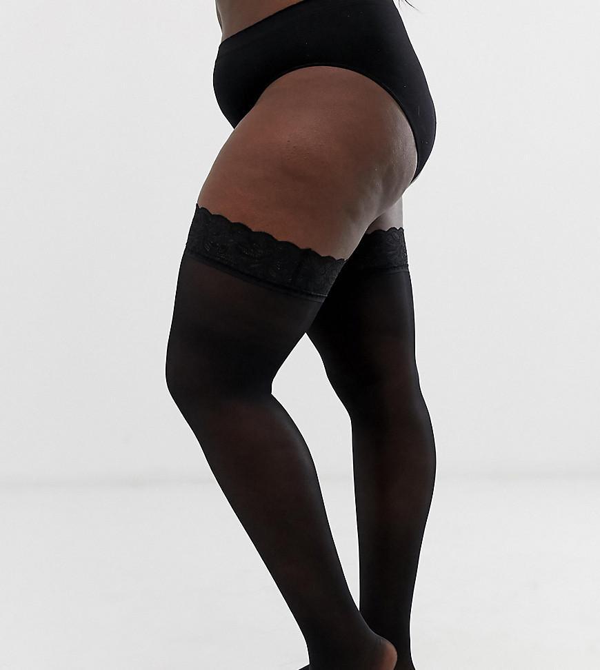 185c18e5d20 Lyst - Figleaves Curve 15 Denier Lace Top Stockings In Black in Black