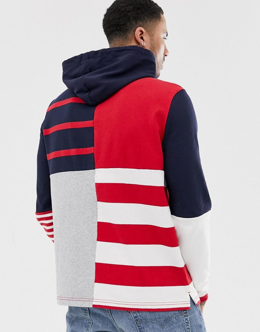 761d4459 Tommy Hilfiger Relaxed Stripe Hooded Rugby Shirt in Red for Men - Lyst
