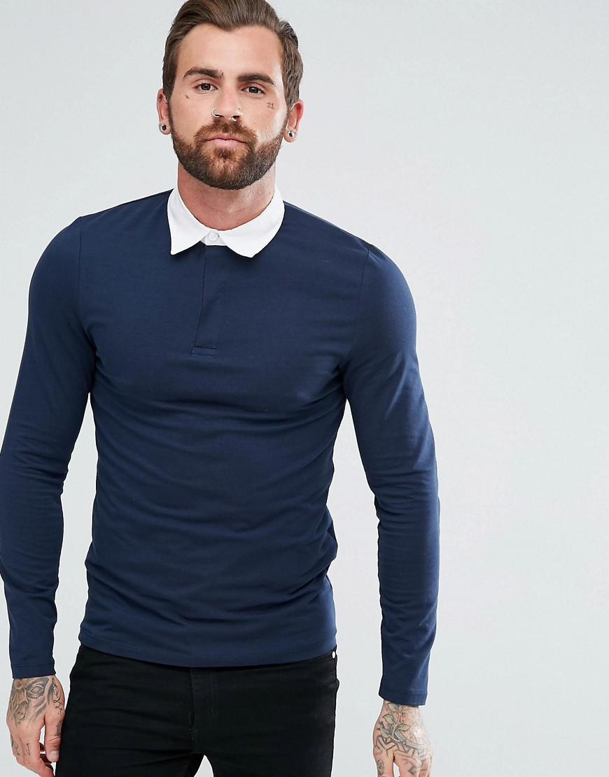 DESIGN muscle fit long sleeve polo with contrast collar in navy - Navy/ blk Asos Cheap Prices Authentic Cheap Sale Inexpensive Sale Best Place h3MwdA4